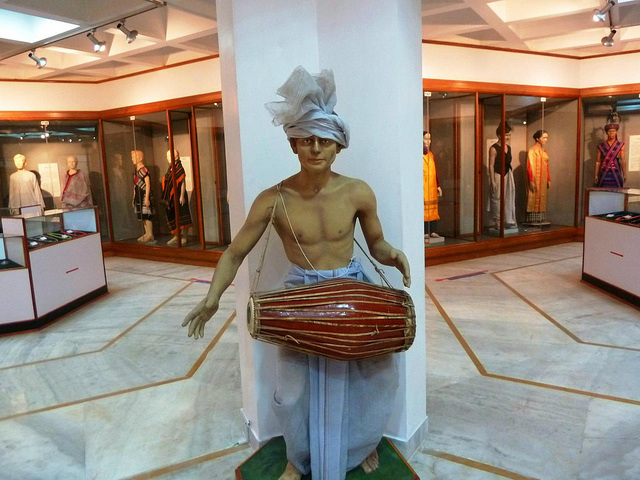 Statue of Meitei Dhol Cholom drummer at the Museum