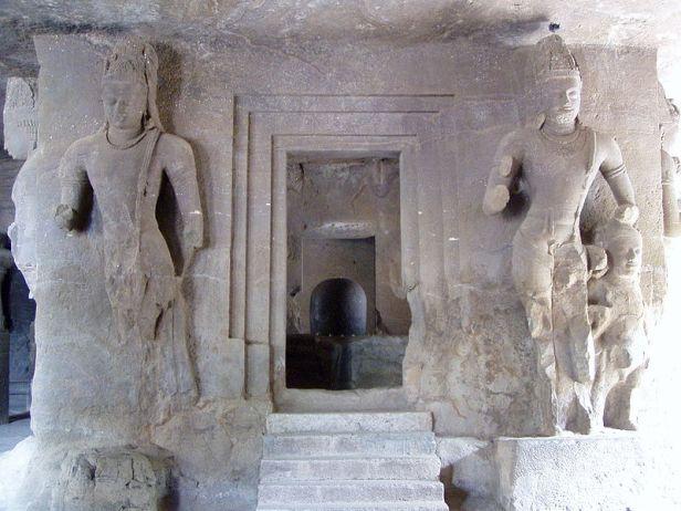 Shiva Linga shrine and Dvarapalas at door entry